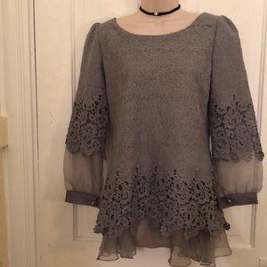 Tops - Elegant gray blue blouse M